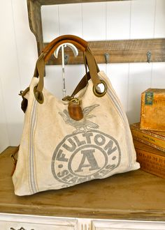 Items similar to Fulton A Seamless Eagle - Chicago - Vintage Seed Sack Open Tote -Americana OOAK Canvas & Leather Tote. Selina Vaughan Studios on Etsy Burlap Bags, Hessian, Feed Bags, Boho Bags, Linen Bag, Denim Bag, Fabric Bags, Canvas Leather, Vintage Bags