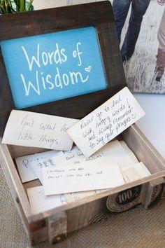 Words of wisdom bridal show decor http://www.himisspuff.com/creative-rustic-bridal-shower-ideas/5/