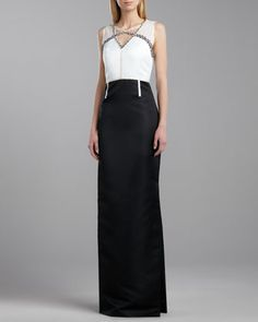 Duchesse Beaded-Neck Gown, Cream/Caviar by St. John Collection at Neiman Marcus.
