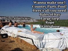 Who needs a fancy pool when you've got some hay bales a tarp and some rope!