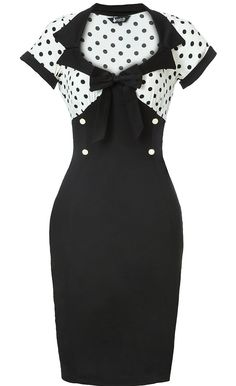 White & Black Polka Dot Wiggle Dress -  love the style of this dress