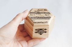 "Small Hexahedral Rustic Style Wedding Box With A Music Sheet ""light Harmony""…"