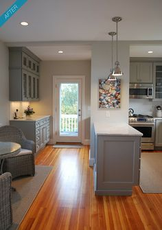 """""""Rockport, MA Kitchen Remodel""""-- Annual Heart of the Home Kitchen sponsor Carriagetown Kitchens Grey Cabinets, Kitchen Cabinets, Kitchen Cupboard, Upper Cabinets, New Kitchen, Kitchen Ideas, Kitchen Reno, Kitchen Inspiration, Barbie Dream House"""