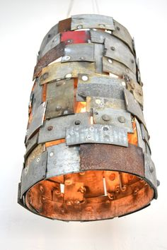 "STUDIO - ""Reliquary"" - Wine Barrel Ring Pendant Light -100% Recycled"
