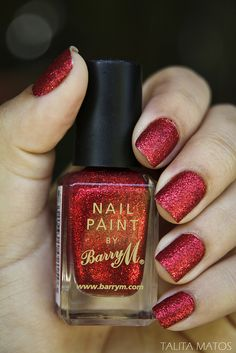 Red Glitter by Barry M -- This would be perfect for winter...I have a shopping list of nail polish and phone cases....