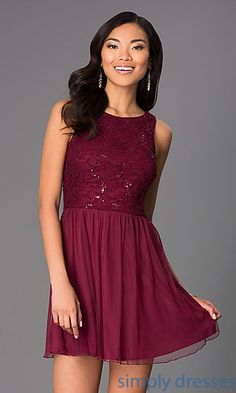 Shop short sequined prom dresses and cocktail dresses at Simply Dresses. Junior-size dresses and short lace dresses for proms or parties.