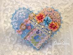 Blue Crazy quilt pin / brocch with shades of peach by GlosterQueen, $37.00