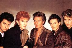 Duran Duran, more specifically John Taylor (bass player) far right. Oh my, this poster graced my bedroom wall as a pre-teen. John Taylor was everyone's favorite. I just loved him, and still think he is hot to this day!  Fully deserving of a page in this 37 year old's teen beat magazine!