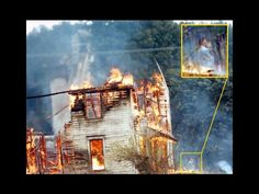 "GHOST LADY & BABY! ""The woman and baby were not visible when the photos were taken (they are only in one of the photos). I doubt that any of the 5 firemen would have allowed a lady and baby to be so close to a burning house."""