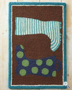 Rain Boots Hooked Wool Rug