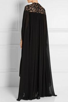 Elie Saab | Lace-paneled silk-blend georgette gown | NET-A-PORTER.COM