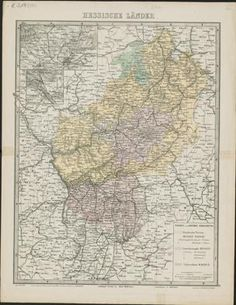 Map of Hesse in Germany - 1870 - High Definition