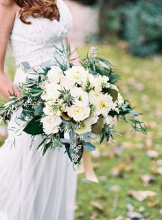 Wild and natural green and cream white bouquet. I love how this incorporates so many different types of flowers and foliage xx