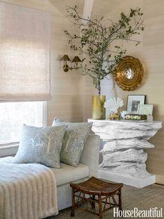 Faux rock console, greenery, texture | Benjamin Dhong California House - House Beautiful