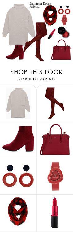 """Cute Winter Dress- Jasmeen Dress Aritzia"" by rebeccadavisblogger ❤ liked on Polyvore featuring HUE, Furla, MANGO, Marc Jacobs, Concrete Minerals and MAC Cosmetics"