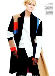 September 2012, color blocking, On Caroline Trentini, Celine color-block coat, double crepe blouse, and trousers. Givenchy by Riccardo Tisci gloves.