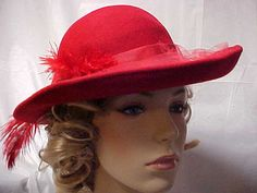 Red wool Michael Howard wide brim hat with red by designer2, $22.00