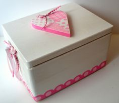 Wooden Baptism/ toy box themed Heart at www.happyrooms.gr