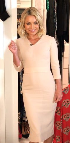 Kelly Ripa in a Goat dress. Kelly Fashion, Office Fashion, Winter Outfits For Work, Work Outfits, Kelly Ripa, Style Finder, Celebs, Celebrities, Signature Style