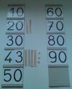 Travail dizaines et unités. Placer le nombre de billes correspondant à côté de chacun des nombres. (Utiliser de vraies billes ou, comme ici, une représentation) Avec la réponse au dos de la carte.