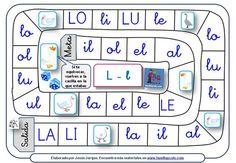 Juegos de la Oca para aprender a leer sílabas directas e inversas con la letra L:
