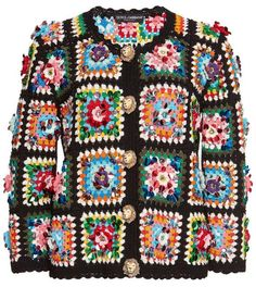Patchwork jacket with rhinestones, Hand-Woven granny square Crochet cardigan, Crafted High fashion designer. Crochet Bolero, Gilet Crochet, Crochet Coat, Crochet Jacket, Crochet Cardigan, Crochet Clothes, Knit Jacket, Knitted Rug, Crochet Vests
