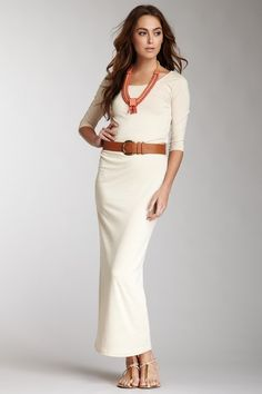 Costa Blanca 3/4 Sleeve Maxi Dress with Belt by Costa Blanca from HauteLook