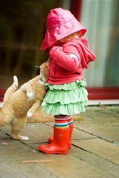 girl, rain boots, hat, cat