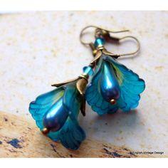Lucite Flower Earrings, Calla Lily Earrings, Victorian Earrings, Boho... ($19) ❤ liked on Polyvore featuring jewelry, earrings, blue earrings, drop earrings, peacock feather earrings, acrylic earrings and peacock earrings