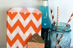 Orange chevron party bags, treat, bitty, gift, party favor, halloween bags, party supplies,candy buffet, wedding candy bags,sweet shop
