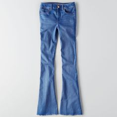 AE Denim X Café Hi-Rise Slim Flare ($25) ❤ liked on Polyvore featuring jeans, bluewrong, stretch jeans, slim stretch jeans, flare leg jeans, flare jeans and slim fit denim jeans