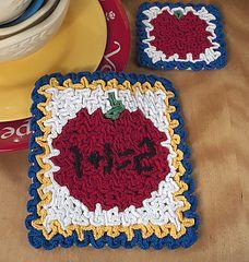 Wiggly Apple Hot Pad & Coaster Set pattern by Susan Lowman Wiggly Crochet Patterns, Crochet Potholders, Crochet Books, Hot Pads, Coaster Set, Teacher Gifts, Great Gifts, Apple, Blanket