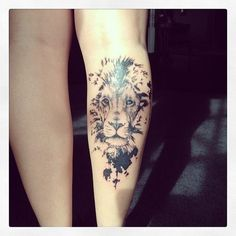 Lion Tattoo for Girls on Leg