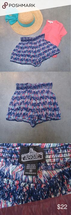 """Angie Boho Blue Teal Pink Ikat Print Flowy Shorts Angie brand flowy boho festival shorts from Nordstrom, size medium, in excellent condition! Size is more like a small or even extra small--please refer to measurements. Fun ikat print in blue, teal, and pink. Wide waistband is elastic. The slightest bit sheer. Measurements are 11"""" unstretched waist, 12"""" length, and 2"""" inseam. Please ask any questions. No trades. Make a reasonable offer. Thanks! *Cover photo accessories not included* Angie…"""