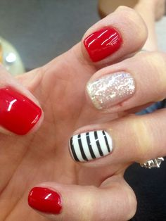 Red, striped, cute, nails.
