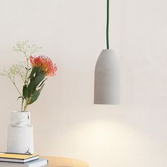 "Concrete lamp with textile cord ""dark green"", 5.90 ft (compatible to USA)"