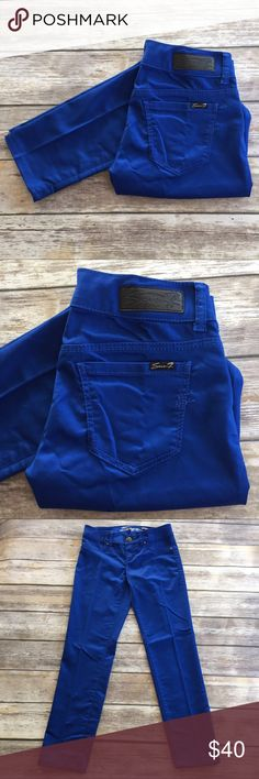 """NWOT 7 For All Mankind Legging Royal Blue skinny ankle Legging by 7 For All Mankind. Gorgeous rich blue twill pants go with so much! ▪️Inseam 28""""▪️Ride 7.5""""▪️Waist 14"""" across laid flat with natural dip▪️New Without Tags. 7 For All Mankind Pants Leggings"""