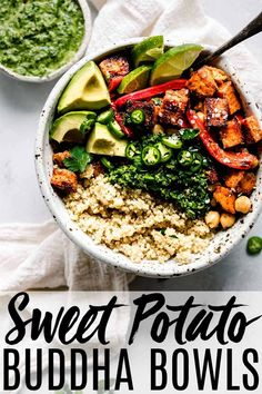 This Buddha Bowl is topped with roasted sweet potatoes, peppers and chickpeas and drizzled with a tangy green mojo sauce. Its a healthy (vegetarian + vegan) dinner or lunch.#buddhabowl #vegetarianrecipe #veganrecipe #ad #betterwithbobs @bobsredmill