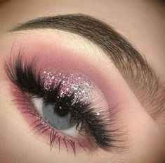 Prom Eye Makeup, Makeup Eye Looks, Eye Makeup Art, Pink Makeup, Glam Makeup, Eyeshadow Makeup, Pink Eyeshadow, Cute Eye Makeup, Glitter Makeup Looks