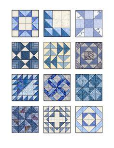 Edible images - blue quilt block designs