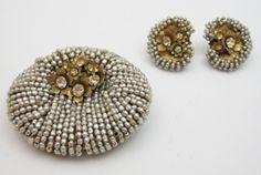 Miriam Haskell Flower Pearl Brooch And Earrings