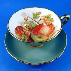 Stunning-Sage-Green-Fruit-Design-Pedestal-Hammersley-Tea-Cup-and-Saucer-Set