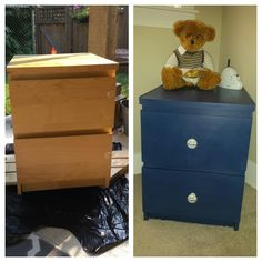 Ikea Malm nightstand transformed with Annie Sloan Napoleonic Blue Chalk Paint with a coat of soft clear wax. Drilled holes for new knobs.