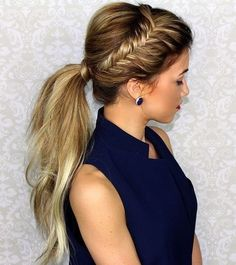 Super Easy Ponytail Hairstyles - Side Fishtail Braid Ponytail
