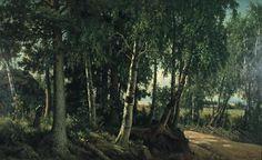"""""""Forest Landscape from Haminalahti"""" - """"Metsämaisema Haminalahdelta"""", 1880, Ferdinand von Wright (1822-1906) - Ateneumin taidemuseo - oil on canvas - Ateneumin taidemuseo - Metsämaisemaksi nimetty teos kuvaa Haminalahden kylän hiekkatietä reunustavia koivuja ja risuaitaa. Taustalla kaukana siintää Kallavesi ja oikealla näkyy Haminalahden kartanon päärakennus."""