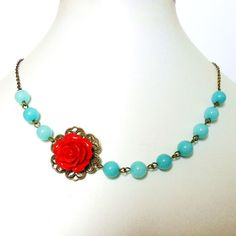 Red Rose Necklace Rockabilly Flower Necklace with by RoseUltra, $9.99