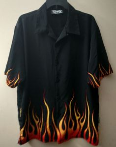 Flame Shirt Men's Button up Short Sleeve Size Large Dragonfly Clothing Company #Dragonfly #ButtonFront