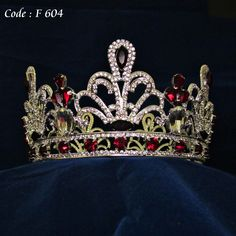 Bridal Tiara-F604,Colorful Stones,Classic Queen style, Red and silver swarovskie stones,This crystal beaded tiara is the epitome of classic elegance,Tiara made of sparkling crystal beaded detail.Available in different stone colors such as silver, red, green, made for order.