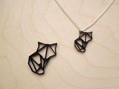 Origami Geometric Mini Fox Necklace