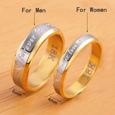 Wedding Couple Rings For Women & Men Engagement Stainless Steel Gold Plated Forever Love Jewelry Fashion Ring Lover - free shipping worldwide